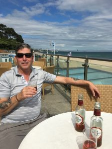 Dave and I supping Old Speckled Hen at Branscombe Chine